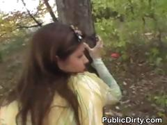 Brunette Doggystyled Against Tree And Facial In Public